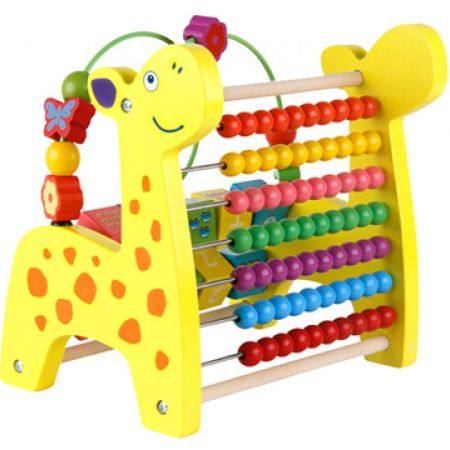 Wooden Toy 3 In 1 Revolving Number Blocks, Abacus & Beads Maze Puzzle