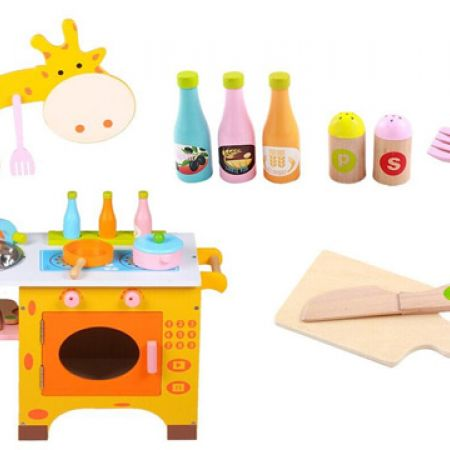 Giraffe Kitchen Educational Wooden Toy Playset 74.5 x 53.5 x 22 cm