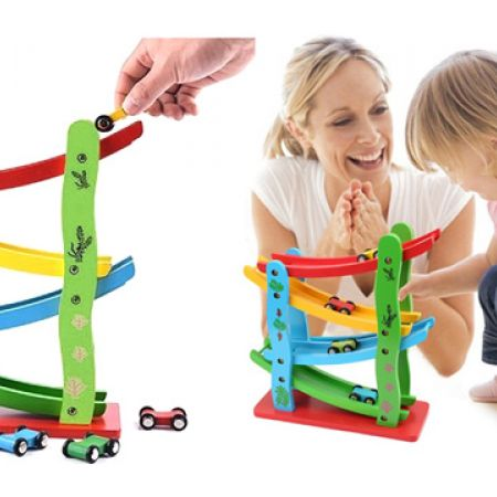 Colourful Wooden Slider Track Race Set With 4 Colourful Miniature Cars