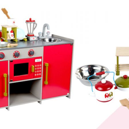 Red Wooden Large Kitchen Playset 82 x 44 x 30 cm