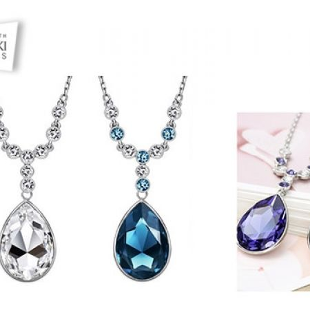 Swarovski Elements Tear Necklace For Women - Blue