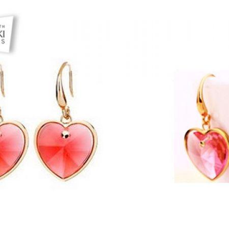 9a5887518 Swarovski Elements Red Heart Drop Earrings For Women - Makhsoom