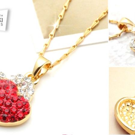 a06743019 Swarovski Elements 14K Gold Plated Red Heart Necklace For Women