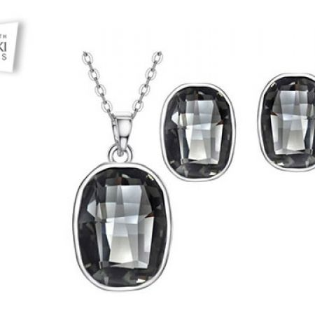 c4f5c7072 Swarovski Elements Set Of Black Alloy Platinum Round Necklace With Earrings  For Women