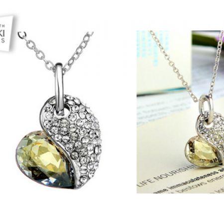 Swarovski Elements Silver Heart Necklace For Women