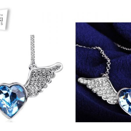 f2d318dad Swarovski Elements Winged Classy Blue Heart Necklace For Women