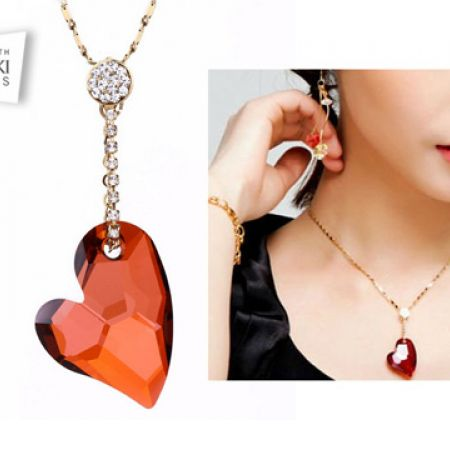 bb3186d1e Swarovksi Elements Gold Plated Red Heart Necklace With Earrings 3 Pcs For  Women