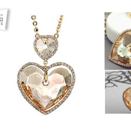 192ffaf10 Swarovksi Elements Champagne Gold Plated Hearts Necklace For Women