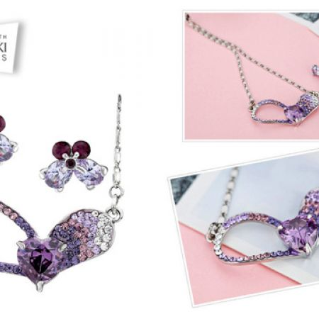 d71382873 Swarovski Elements Purple Special Heart Necklace With Earrings 3 Pcs For  Women