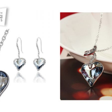 ded777111 Swarovski Elements Blue Stylish Classy Heart Necklace With Earrings 3 Pcs  For Women