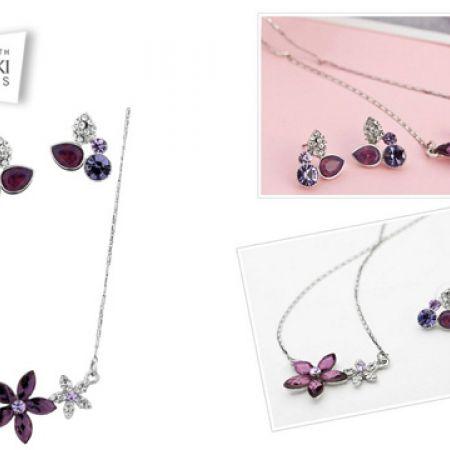ec064ec28 Swarovski Elements Purple Special Flower Necklace With Earrings 3 Pcs For  Women
