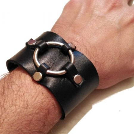 Unisex Custom Made Genuine Leather Middle Ring With 4 Studs Design Bracelet