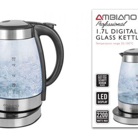 Ambiano Professional Digital Glass Kettle 1.7 L 2400 W