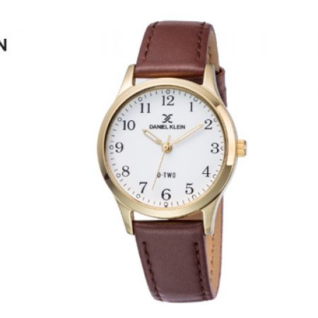 Daniel Klein DK11924-2 PU Leather Silver Dark Brown Watch Unisex