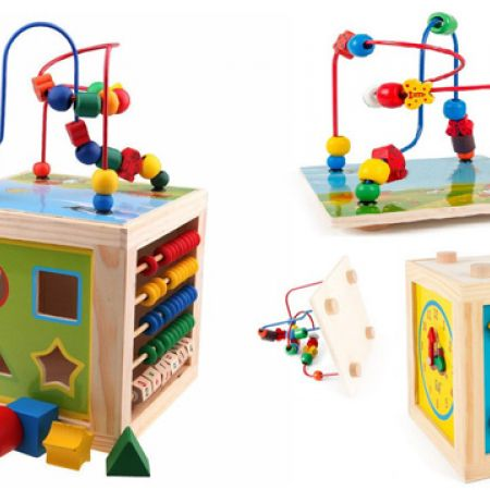 Wooden 5 In 1 Multi Function Colourful Flower And Bird Reel Pearls Activity Cube