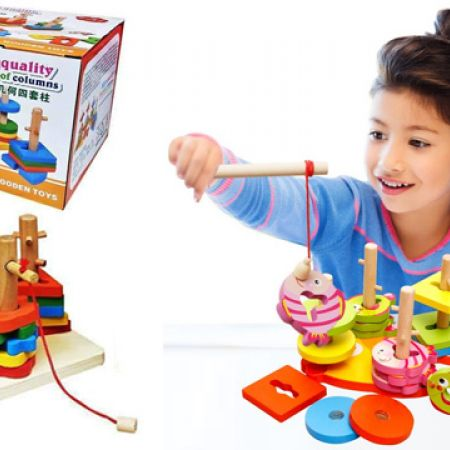 Wooden Shape 4-Set Stacker With Magnetic Fishing Game