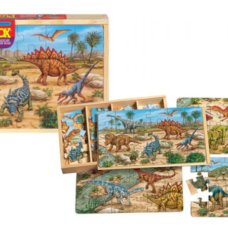 Prehistoric Dinosaurs 4 Large Puzzles in a Wooden Box 24 x 4 Pcs