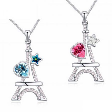 47c59da13 Platinum Plated Eiffel Tower With Heart Crystal Necklace For Women - Blue