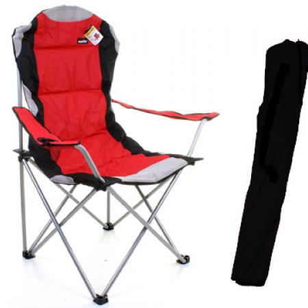 Red & Grey Heavy Duty Deluxe Padded Folding steel Camping Chair With Carry Bag