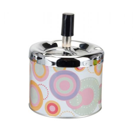 Portable Metal Ashtray With Push System 9.5 x 8 cm