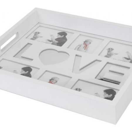 Wooden Serving Tray With Picture Frames 40 x 31.5 x 5.5 cm