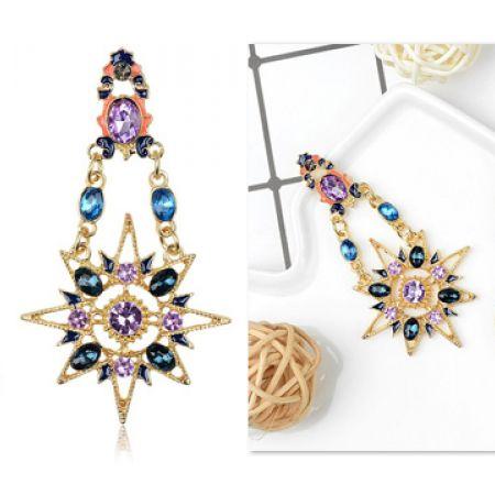 Sun & Moon Crystal Multicolors Earrings For Women