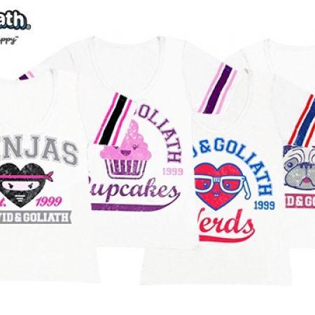 David & Goliath White Varsity T-Shirt For Kids - Pugs - Size: Small