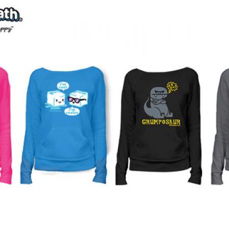 David & Goliath Animal Boat Neck Maniac Hachi Pouch Pocket Sweatshirt For Women - Hipsterpotamus Hot Pink - Size: XS
