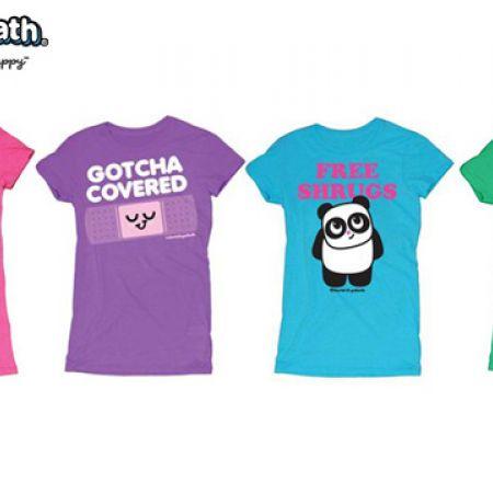 David & Goliath Fun Graphic Garment Dyed Tee For Women - Hipsterpotamus Hot Pink - Size: Small