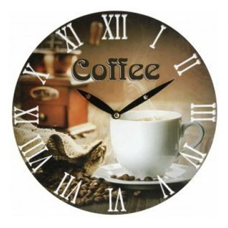 Wall Clock With Cozy Old-Fashioned Coffee Design 28 cm