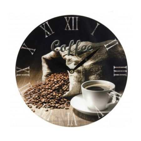 Wall Clock With Old-Fashioned Coffee Design 28 cm