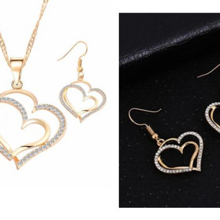 7852447f7 Set Of Stainless Steel Gold Plated Double Hearts Necklace With Earrings For  Women
