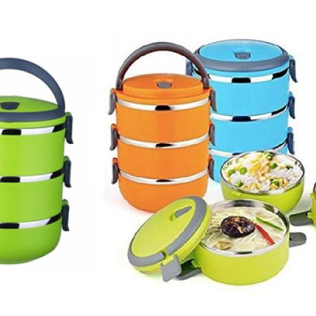 3 Layers Colored Stainless Steel Lunch Box 2.1 L - Blue