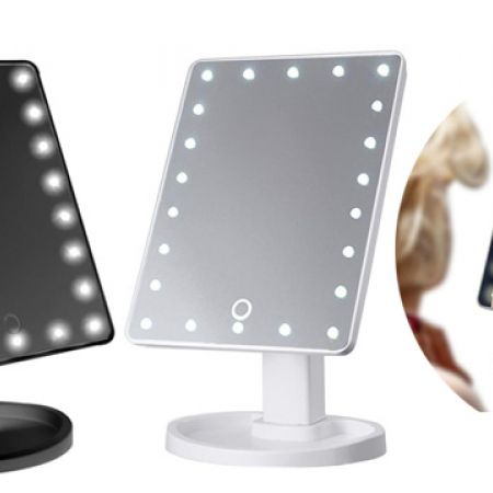 LED Magic Makeup Mirror With Touch Sensitive Light Control 27 x 17 x 11.5 cm - Black