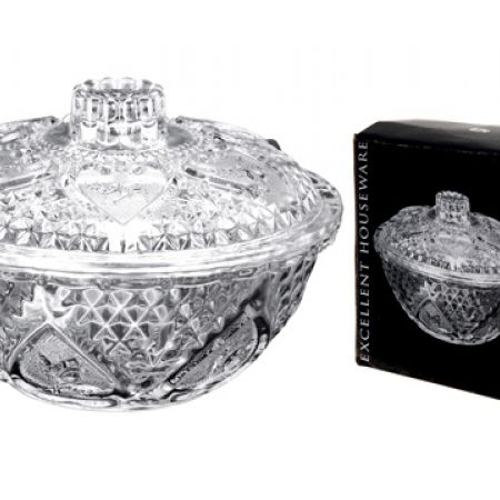 Cookie Glass Bowl Bomboniere With Lid 13 x 8.5 cm