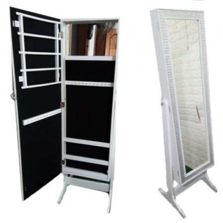 Mirrored Jewelry Cabinet Armoire Organizer 110 x 40 cm