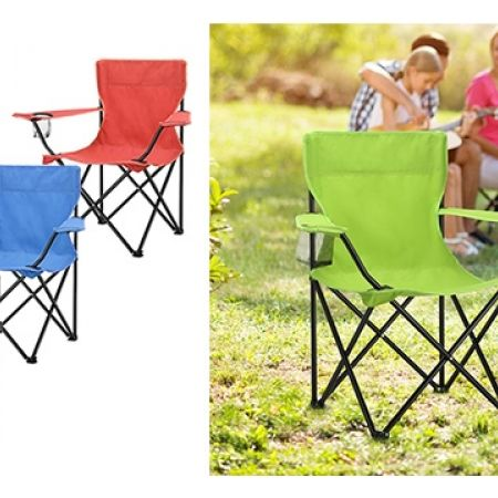 Portable Folding Camping Armchair With Carry Bag - Blue