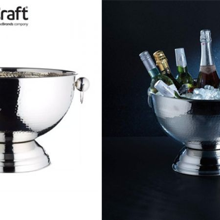 KitchenCraft BarCraft Hammered Stainless Steel Champagne Bowl 37 x 25 cm