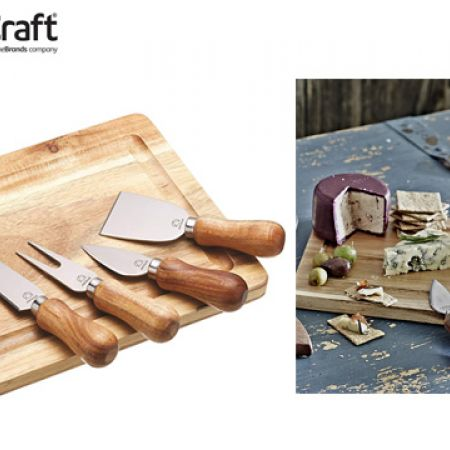 KitchenCraft Artesa Wood Cheese Board & Knife Set 25.5 x 20 cm