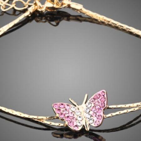 Gold Plated Stellux Austrian Crystal Butterfly Bracelet For Women
