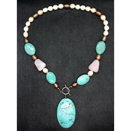R.Trend Coral Blue Opera Necklace For Women