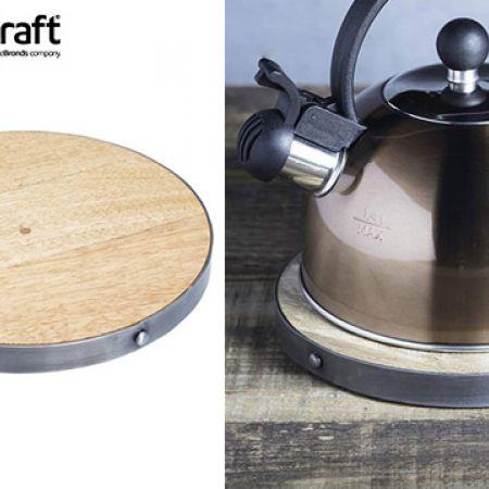 KitchenCraft Industrial Kitchen Round Wooden Trivet & Teapot Stand 20 cm