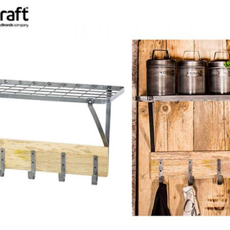 KitchenCraft Industrial Kitchen Wall-Mounted Shelf With Hooks 32.5 x 60 x 25.5 cm