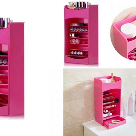 Cosmake Pink Multilayer Lipstick & Nail Polish Organizer