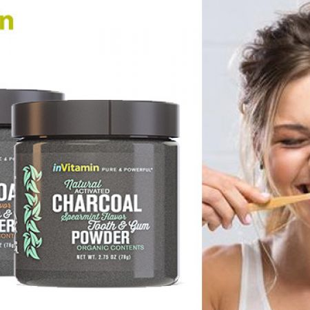 inVitamin Natural Whitening Activated Charcoal Tooth Powder - Spearmint