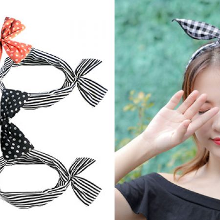 Wire Knotted Cute Headband - Navy & White Dots