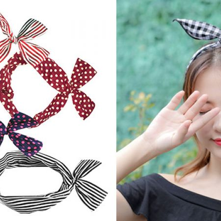 Wire Knotted Cute Headband - Pink, Black & White Stripes