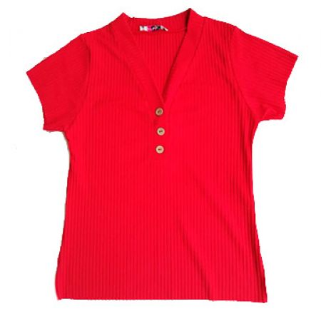 Ribbed Red Tshirt With Button Down Detailing For Women - Medium