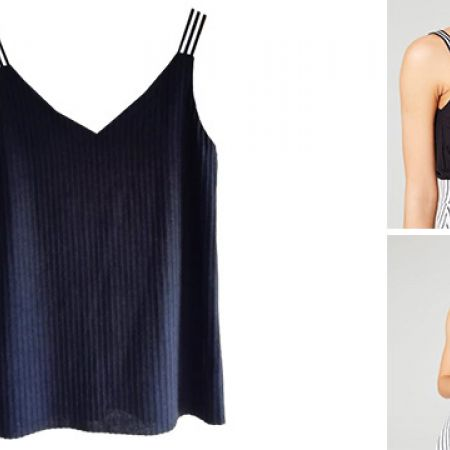 Ribbed Black Shirt With Striped Shoulder Detailing For Women - Medium