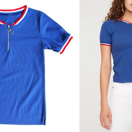 Stretch Zip Blue Front Ribbed Shirt For Women - Small